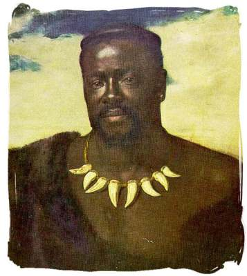 A painting of Cetshwayo kaMpande (circa 1826 - February 8, 1884) who was the king of the Zulus from 1872 to 1879