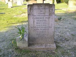 Headstone reference G59 Plan 4 - Vickers, Florence May & Vickers, John Robert
