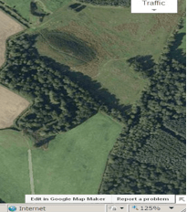 A Google Earth map showing the sandpit and mound where the Beaker Pottery was found