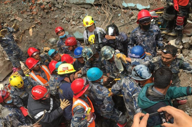 Urban-search-and-rescue members of USAID's Disaster Assistance Response Team (DART) at work in Nepal. Photo: USAID's Disaster Assistance Response Team