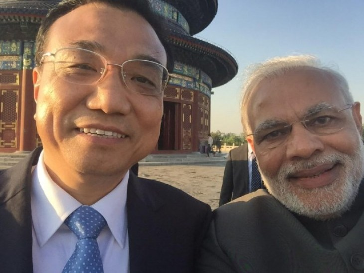 Modi takes a selfie with the Chinese Premier during his May visit to the communist nation.