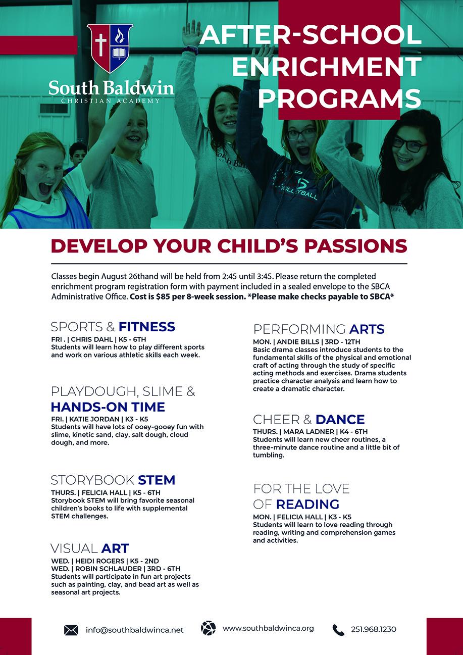 Fall 2019 Enrichment Programs Schedule