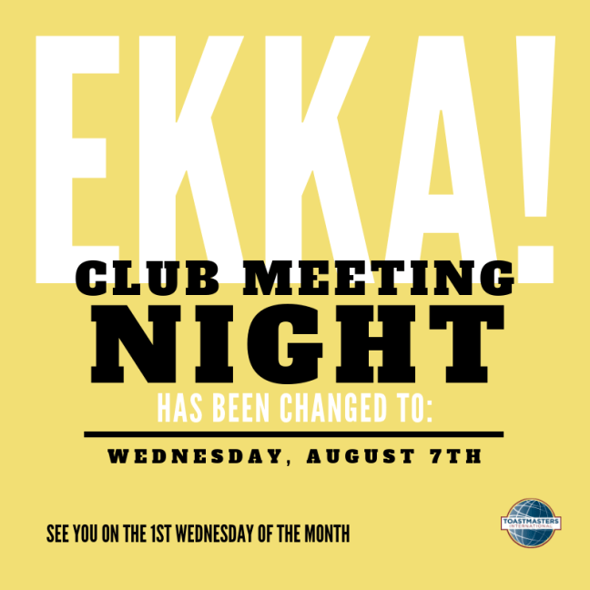 August club meeting change: now 7th Aug