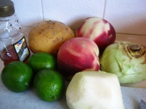 The salad ingredients standing by for prep.