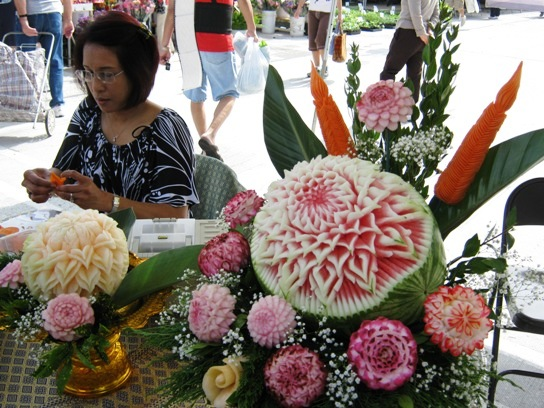 Thai style fruit and vegetable carving at the market.
