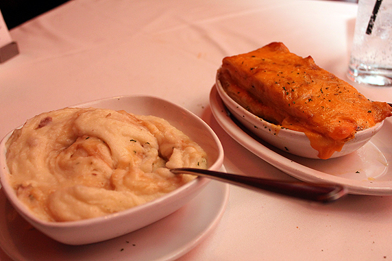 side dishes: garlic mashed potatoes and flemings potatoes