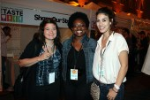 Nicole gets cheesy with celebrity chefs Alex Guarnaschelli and Claire Robinson from the Food Network at THE TASTE 2011.