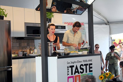 Debi Mazar demonstrates one of her recipes.