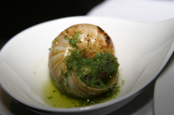 Escargot with garlic butter and herb sauce