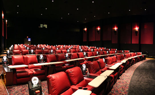 Pictured here in one of the larger halls at the AMC Dine-In Theatre Marina Del Rey, each assigned seat is a plush, leather recliner