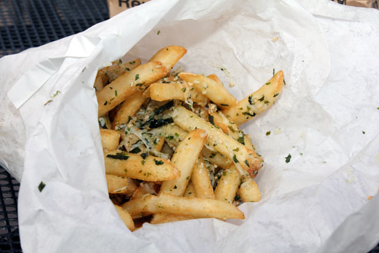 Truffle Parmesan Fries with seaweed flakes.