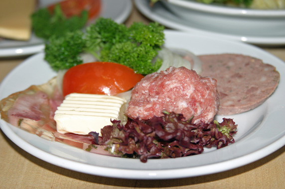 From left to right: schweinskopfsülze (pig's head), mett (seasoned raw pork) and leberwurst (liverwurst).