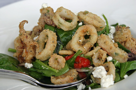 Greek Salad with calamari