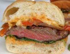 Fire-roasted steak sandwich