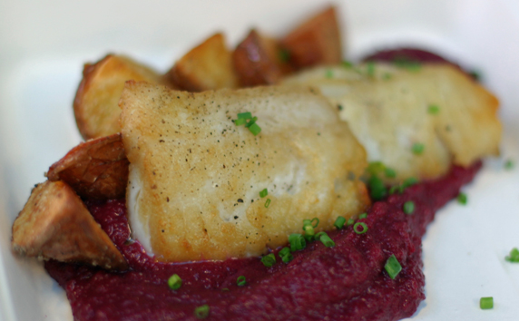 Pan Roasted Alaskan Cod over a beet-orange puree