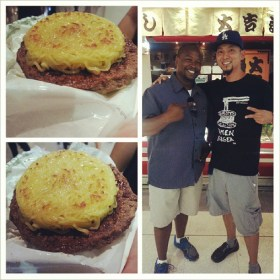 Hanging with Keizo @GoRamen, creator of the original #RamenBurger. Serving 500 today only in #Torrance. #SouthBayFoodies