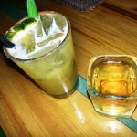 A sample size of the Makaha Maggie -- the real one is bigger -- and a shot of the pineapple infused tequila.