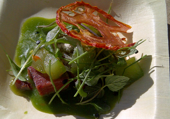Reimagined Thai Beef Salad by Lukshon. Smoked beef tongue, compressed cucumber, lettuce soup and crispy tomato.