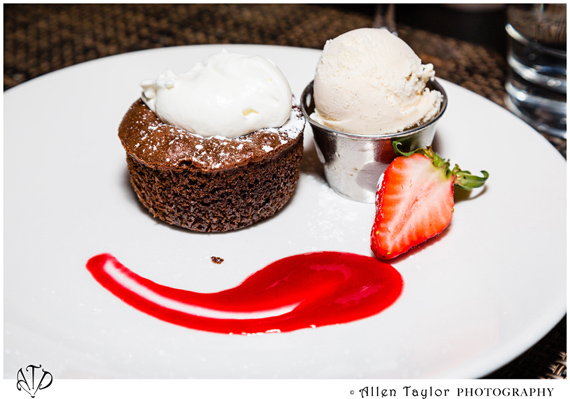 Warm chocolate cake pared with vanilla gelato