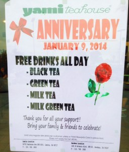 Yami Teahouse Free Drinks