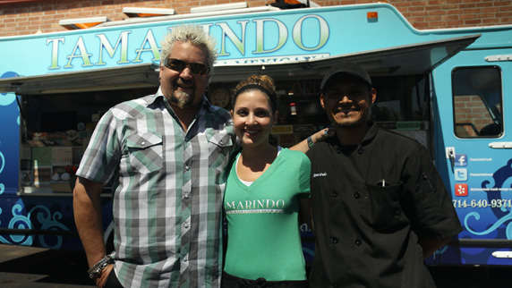 Guy with co-owners Sarah and Pablo Resendiz of the Tamarindo Truck