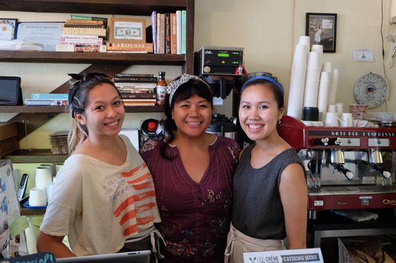 Pictured left to right: Angela Fernandez, co-owner, Kristine de la Cruz and Gino Vo