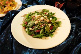 Baby arugula, sliced grilled chicken, pecans, dried cranberries and fresh oranges tossed in lemon balsamic vinaigrette, topped with crumbled feta cheese,