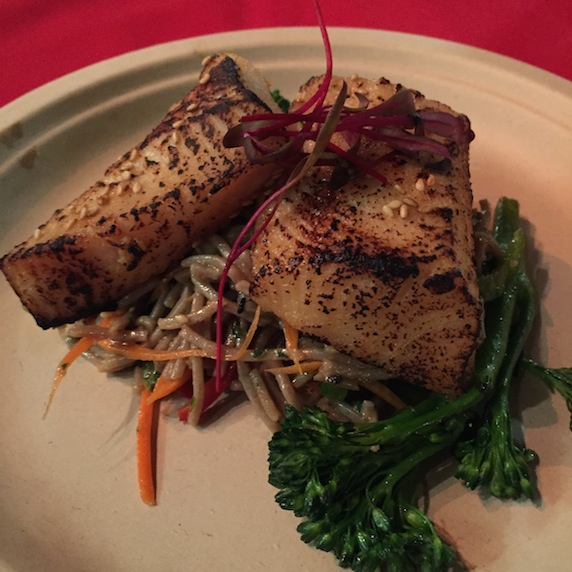Miso black cod served with a cold soba noodle salad