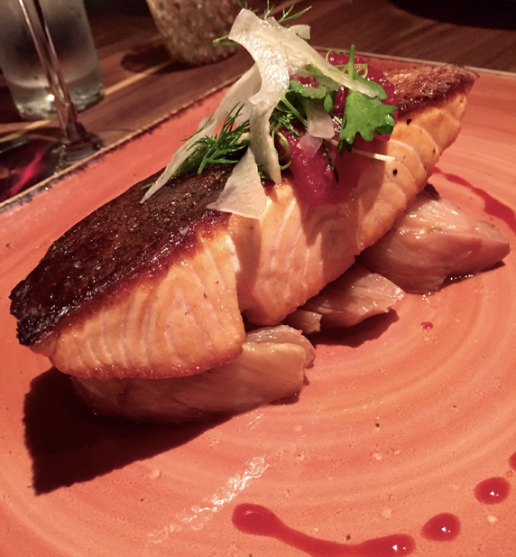 Crispy skin salmon with roasted fennel