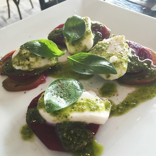 Beets with buffalo mozzarella, basil and heirloom tomatoes