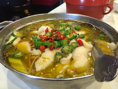 Boiled Fish Filet with Green Pepper Sauce