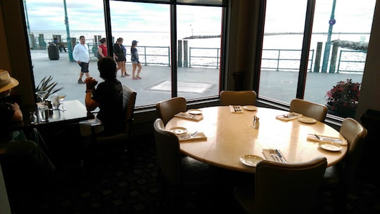 Looking out over the King Harbor Marina from inside Kincaid's dining room.