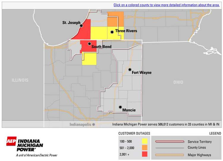 Indiana And Michigan Power Outage Map.Nearly 25 000 Still Without Power In Northern Indiana Southwest