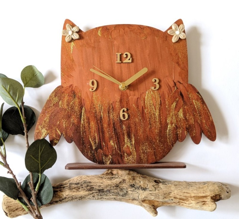 Autumn Sparkles Owl Clock