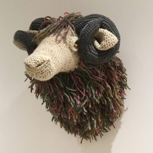 Crochet Ram Trophy Head, Lifesize