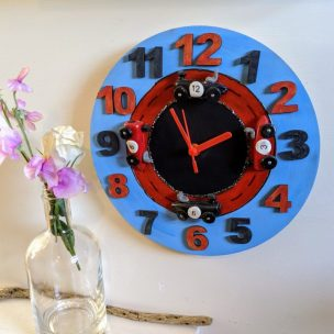 Blue and Red racing car clock