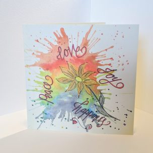 Flower Rainbow Splash card - positivity card