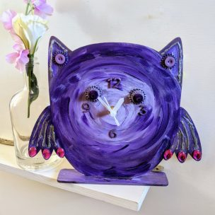 Tarty Purple Owl clock
