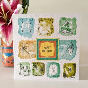 Happy birthday abstract blocks card - Green