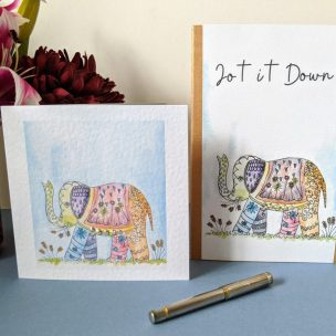 Elephant and Greetings Card card and notebook gift set