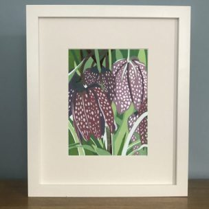 Fritillary Limited Edition Reduction Lino Print framed