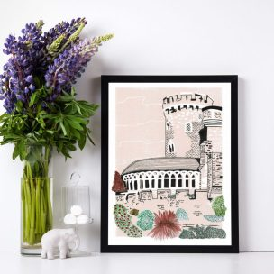 Devizes Castle Limited Edition Lino Print and Watercolour Framed
