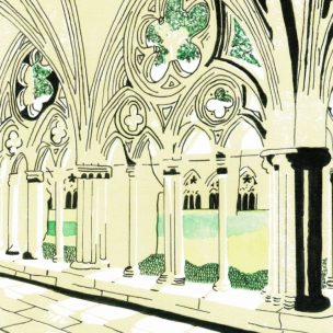 Salisbury Cathedral Limited Edition Lino Print and Watercolour Unframed