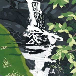 Waterfall limited edition reduction Lino print unframed