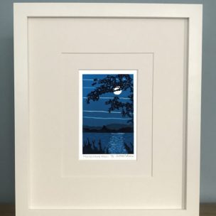 Monochrome Moon limited edition reduction Lino print framed