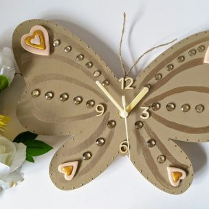 Shimmering Gold Butterfly Clock