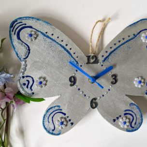 Blue Beauty Butterfly Clock