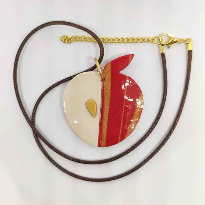 Red Apple With Golden Seed & Leaf Pendant Necklace