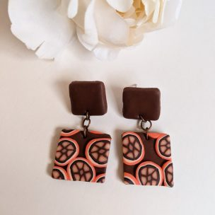 Orange and Brown funky drop earrings - square shape