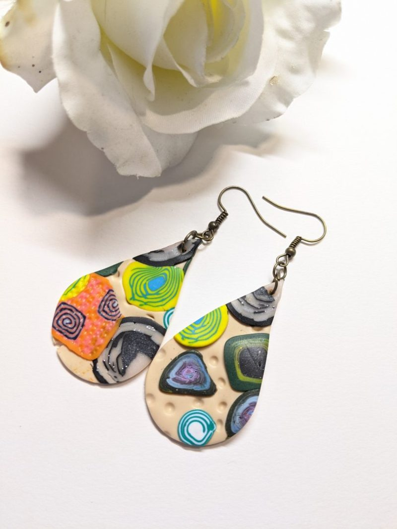 Mixed pattern clay slab teardrop earrings - style 2